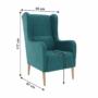 Kép 10/20 - BREDLY Kényelmes fotel,  türkíz/bükk