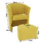 Kép 3/21 - ROSE Klub fotel puffal,  mustár