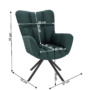 Kép 2/27 - KOMODO Dizájnos pörgő fotel, zöld/fekete