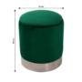 Kép 2/20 - DARON Puff,  zöld Velvet anyag/ezüst króm