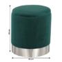 Kép 7/20 - DARON Puff,  zöld Velvet anyag/ezüst króm