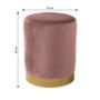 Kép 2/2 - ALAZ Puff,  rózsaszín Velvet anyag/gold króm-arany