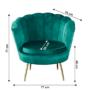 Kép 12/13 - NOBLIN Art-deco desing fotel,   smaragd bársony szövet/arany króm- arany