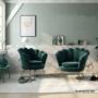Kép 5/13 - NOBLIN Art-deco desing fotel,   smaragd bársony szövet/arany króm- arany