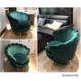 Kép 6/13 - NOBLIN Art-deco desing fotel,   smaragd bársony szövet/arany króm- arany