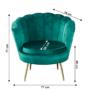 Kép 10/30 - NOBLIN Art-deco desing fotel,   smaragd bársony szövet/arany króm- arany