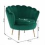 Kép 11/30 - NOBLIN Art-deco desing fotel,   smaragd bársony szövet/arany króm- arany