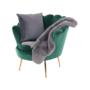 Kép 12/30 - NOBLIN Art-deco desing fotel,   smaragd bársony szövet/arany króm- arany