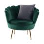 Kép 13/30 - NOBLIN Art-deco desing fotel,   smaragd bársony szövet/arany króm- arany