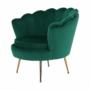 Kép 15/30 - NOBLIN Art-deco desing fotel,   smaragd bársony szövet/arany króm- arany