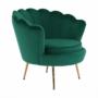 Kép 18/30 - NOBLIN Art-deco desing fotel,   smaragd bársony szövet/arany króm- arany