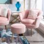Kép 3/29 - NOBLIN Art-deco desing fotel,  rózsaszín bársony szövet/arany króm- arany