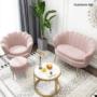 Kép 4/29 - NOBLIN Art-deco desing fotel,  rózsaszín bársony szövet/arany króm- arany