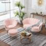 Kép 5/29 - NOBLIN Art-deco desing fotel,  rózsaszín bársony szövet/arany króm- arany