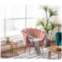 Kép 6/29 - NOBLIN Art-deco desing fotel,  rózsaszín bársony szövet/arany króm- arany