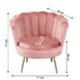 Kép 10/29 - NOBLIN Art-deco desing fotel,  rózsaszín bársony szövet/arany króm- arany