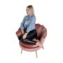 Kép 12/29 - NOBLIN Art-deco desing fotel,  rózsaszín bársony szövet/arany króm- arany