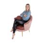 Kép 13/29 - NOBLIN Art-deco desing fotel,  rózsaszín bársony szövet/arany króm- arany