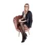 Kép 14/29 - NOBLIN Art-deco desing fotel,  rózsaszín bársony szövet/arany króm- arany