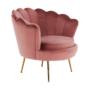 Kép 21/29 - NOBLIN Art-deco desing fotel,  rózsaszín bársony szövet/arany króm- arany