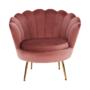 Kép 22/29 - NOBLIN Art-deco desing fotel,  rózsaszín bársony szövet/arany króm- arany