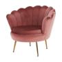Kép 24/29 - NOBLIN Art-deco desing fotel,  rózsaszín bársony szövet/arany króm- arany