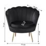 Kép 3/3 - NOBLIN Art-deco desing fotel,  fekete bársony szövet/arany króm- arany