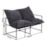 Kép 2/6 - DEKER Dupla ülés-fotel,   szürke szövet/fekete