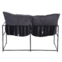 Kép 4/6 - DEKER Dupla ülés-fotel,   szürke szövet/fekete