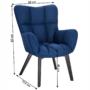 Kép 2/24 - FONDAR Dizájnos fotel,  kék/fekete