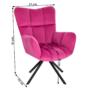 Kép 2/29 - KOMODO Dizájnos forgószék,  rózsaszín színű Velvet anyag/fekete