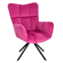 Kép 3/29 - KOMODO Dizájnos forgószék,  rózsaszín színű Velvet anyag/fekete
