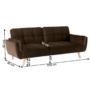 Kép 2/2 - FILEMA Széthúzhatós kanapé,  barna/tölgy