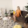 Kép 5/19 - FILEMA Széthúzhatós kanapé,  barna/tölgy