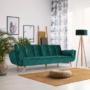 Kép 2/21 - KAPRERA Kinyitható kanapé,  smaragd bársony/bükk [NEW]