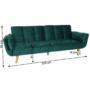 Kép 21/21 - KAPRERA Kinyitható kanapé,  smaragd bársony/bükk [NEW]