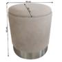 Kép 2/2 - DARON Puff,  barna-szürke TAUPE anyag/ezüst króm
