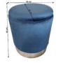 Kép 2/3 - DARON Puff,  kék Velvet anyag/ezüst króm