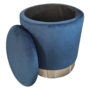 Kép 3/3 - DARON Puff,  kék Velvet anyag/ezüst króm