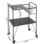 Kép 2/5 - KORETE Mozgatható kisasztal - többfunkciós - fém/műanyag,  fekete