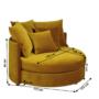 Kép 2/4 - SALOTO Kerek fotel,  Velvet szövet sárga