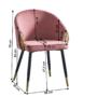 Kép 2/3 - DONKO Dizájn fotel,  rózsaszín velvet szövet/gold króm arany