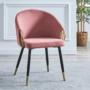 Kép 3/3 - DONKO Dizájn fotel,  rózsaszín velvet szövet/gold króm arany
