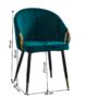 Kép 2/3 - DONKO Dizájn fotel,  smaragd velvet szövet/gold króm arany