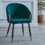 Kép 3/3 - DONKO Dizájn fotel,  smaragd velvet szövet/gold króm arany