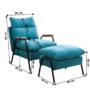 Kép 3/3 - BANDER Fotel lábtartóval,  kék/fekete fém