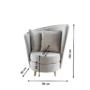 Kép 2/3 - ROUND Fotel Art Deco stílusban,  világosszürke Paros szövet/tölgy [NEW]