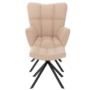 Kép 2/3 - KOMODO Dizájnos forgó fotel lábtartóval,  bézs/fekete [TYP 2]