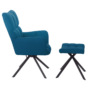 Kép 3/3 - KOMODO Dizájnos forgó fotel lábtartóval,  petróleum zöld/fekete [TYP 2]